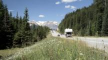 Traffic, Including Camper, On Highway No. 1 Yoho National Park
