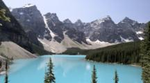 Overlook View Of Jagged Mountains And Moraine Lake, Banff National Park