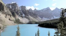 Overlook Of Jagged Mountains Behind Moraine Lake, Banff National Park