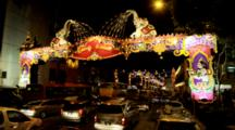 Traffic Through Decorations Of Deepanvali (Festival Of Lights) In Serangoon Rd. (Little India)