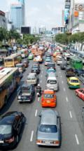 Looking Down On Congested Traffic On Rachadamri Street, Bangkok