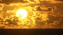 Tropical Ocean Sunrise With Cumulus Clouds