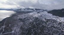 Aerial Cineflex Travel Over Coastal Mountains Clearcutting Near Inside Passage Alaska