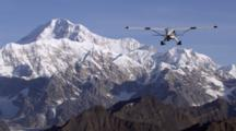 Bush Plane Enters Frame From Below While Flying Away From Camera Over Alaska Range Towards Mount Mckinley. Zatzworks Cineflex Aerials Of Denali National Park, Bush Planes, Air To Air, Glaciers, National Park, Cineflex
