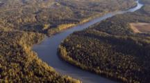 Fly Over Expansive Boreal Forest Highlighted By Low Sun, Tilt  To Tree Shadows On River. Interior Alaska River And Boreal Forest Zatzworks Cineflex Aerials Glaciers Alaska Peaks