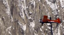 Distant Shot Of Bush Plane Flying Along Steep Rugged Mountain Face And Glaciers In Alaska Range, Zoom To Medium Shot Of Plane In Front Of Snow And Rock Face. Zatzworks Cineflex Aerials Of Denali National Park, Bush Planes, Air To Air, Glaciers, National Park, Cineflex