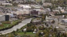 Cineflex Aerial Of Fairbanks Alaska City Denali State Bank And Small White Church With Steeple, Pull Back To Reveal Fairbanks Alaska Metropolis. Cineflex Aerial Of Alaska By Zatzworks