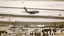 Cineflex Aerial Of C130 Preparing To Land In Wasilla Alaska