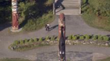 Cineflex Aerials Zoom Out Of Totem Poles In Ketchikan Southeast Alaska