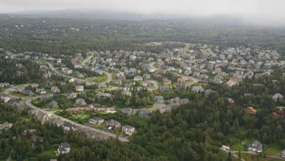 Aerial Above Anchorage Alaska Suburbs