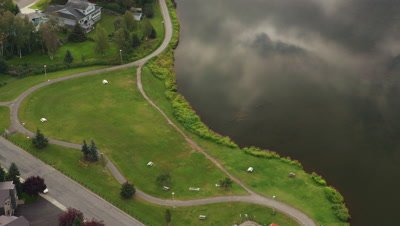 Aerial Above Walking Trail at Lake Spenard in City of Anchorage