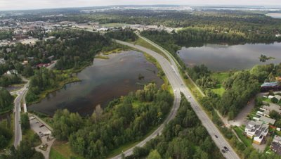 Aerial Above Anchorage Suburbs,Tilt to Reveal Lake Spenard