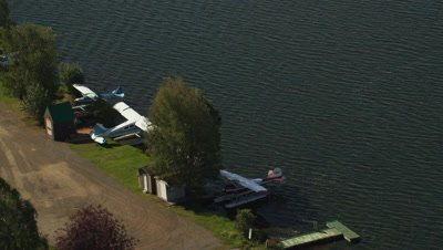 Floatplanes Parked at Edge of Lake Hood,Seaplane Base