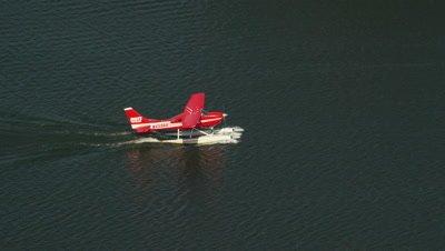 Floatplane Prepares For Takeoff On Hood Lake