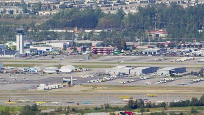 Aerial,Anchorage Airport,Plane taking off