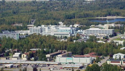 Aerial Above Commercial Building,Anchorage,Alaska