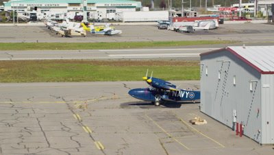 Aerial Anchorage Airport,Travel close to Navy plane on tarmac