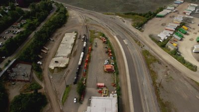 Aerials Of A Railway Yard In Alaska