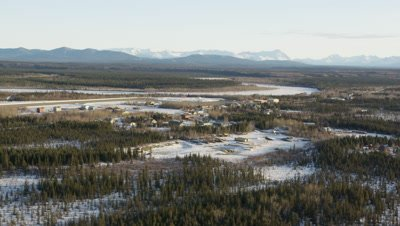 Aerial of Bettles Alaska in winter