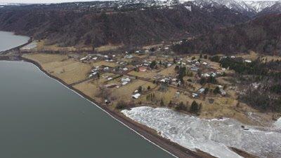 Aerial Above Alaska Suburb or Village On Shore