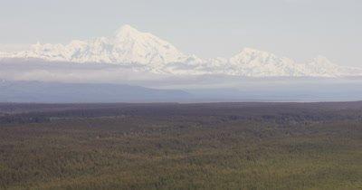 Aerial,Grand Vista of Alaska Wilderness Landscape and Huge Mountain Range