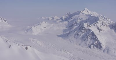 Aerial,Grand Vista of Rugged,Snow-covered Mountain Range