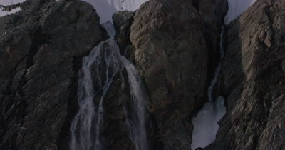 Aerial,Glacier,Edge Melting to Create Waterfall