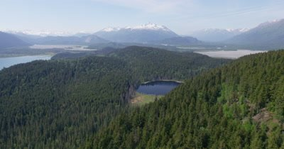 Aerial over Evergreen Forest,Mountains and Small Lake