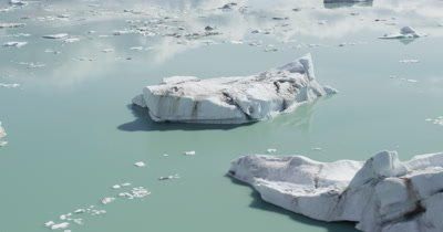 Low Aerial Over Icebergs In Glacier Bay National Park,Rotate to Reveal Wide Vista