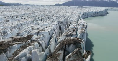 UHD aerial of Alsak lake and Alsak glacier in Glacier national Park