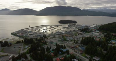 Aerial Above Anchorage,Alaska suburb on edge of Cook Inlet
