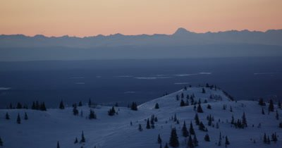 Grand Panoramic Vista of Alaska Winter Landscape at Sunrise or Sunset