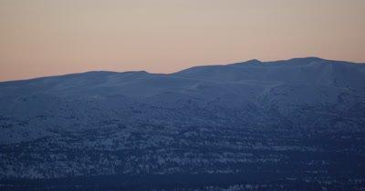 Grand Expansive Vista of Alaska Winter Landscape at Sunrise or Sunset