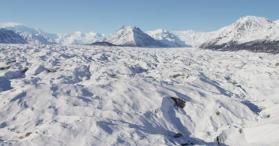 Aerial Snow-Covered Mountains and Possible Glacier in Alaska