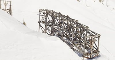 aerial of old ancient wooden mining trustle in wrangle Saint Elias National Park near McCarthy Alaska