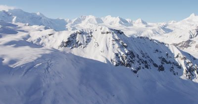 Aerial,Wide Vista of Mountain Range Blanketed in Snow
