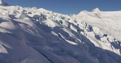 Very Low,POV Aerial Over Deep Chunky Snow,Crevices, Glacier