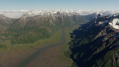 Wide Aerial,Grand Vista of Snow-capped Mountains,Valley and Winding River
