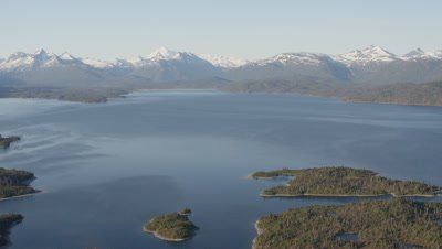 UHD Aerial of Lake Iliamna near Bristol Bay Pebble Mine rivers lake mountains