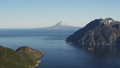 UHD aerial of Mt Augustine viewed from Pebble Mine area western shore Cook Inlet