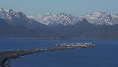 UHD Aerial of Homer Alaska view from Northwest includes Homer Spit