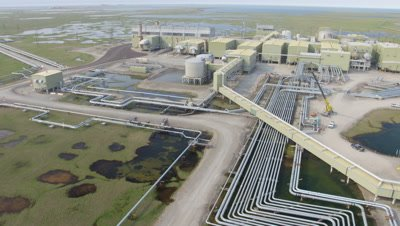 Aerial Alaska,Oil Production Facility With Array of Pipes