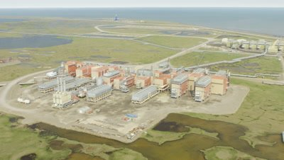 Prudhoe Bay Alaska Oil fields production of oil climate change UHD 4k aerial