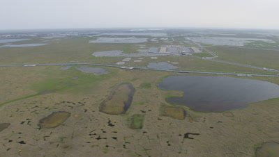 Aerial Alaska,Possibly Oil Production Facility Surrounded by wetland