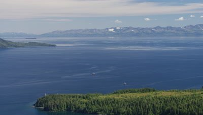 Aerial Alaska,Coniferous forest on shore of bay,distant boats