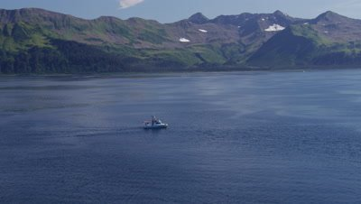 Aerial Coastal Alaska,Tourist Boat Carrying Kayaks