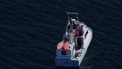 Aerial Coastal Alaska,Tourist Boat Carrying Kayaks