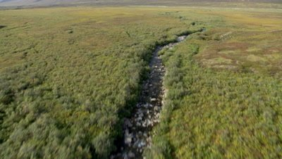 Aerial Alaska,POV Flying Low Following Rocky Stream,Lift to Reveal Mountain Range
