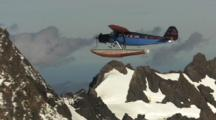 1929 Travel Air Bush Plane Floatplane With Floats Flying Over Glaciers And Mountains Aerials