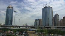 Beijing China Push From Wide View Of Modern City To Motorolla Building